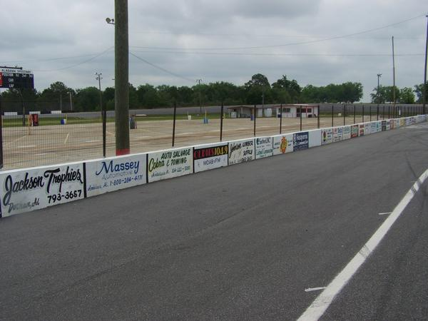 Here is a view of all of our front stretch pit wall ads. These run $450 for the entire season!